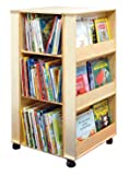 "Childcraft 071870 Mobile 4-Sided Library Stand with 3 Shelves, Birch Veneer Panel, Acrylic, 23-1/2"" x 23-1/2"" x 43-3/8"", Natural Wood Tone"