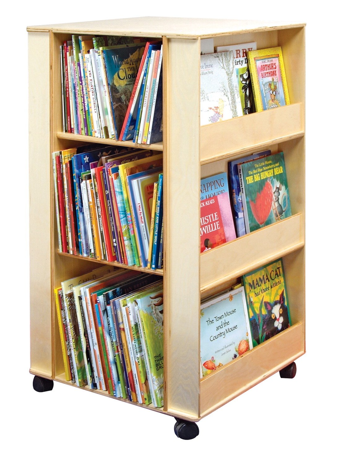 Childcraft 071870 Mobile 4-Sided Library Stand with 3 Shelves, Birch Veneer Panel, Acrylic, 23-1/2'' x 23-1/2'' x 43-3/8'', Natural Wood Tone