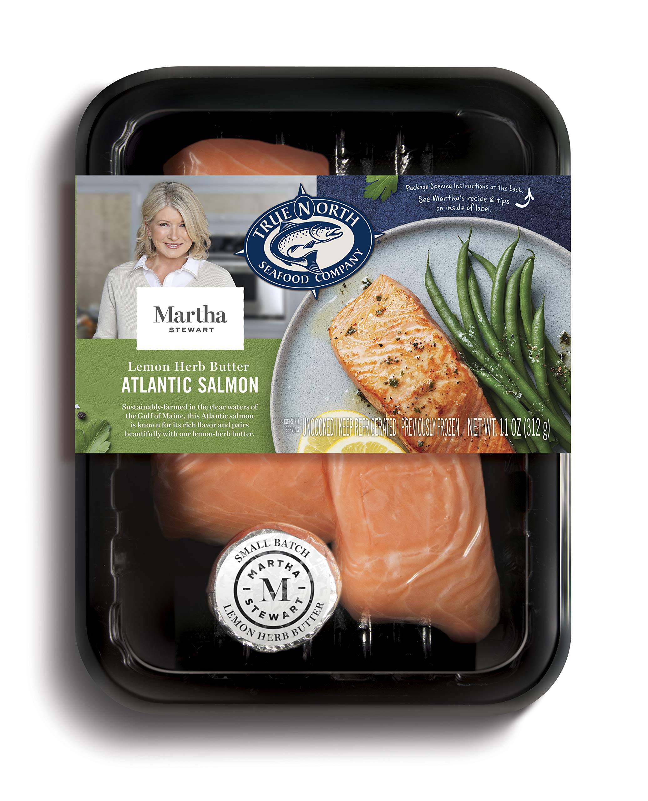 Martha Stewart for True North Seafood: Simple and Easy Sockeye Salmon with Miso Butter and Atlantic Salmon with Lemon Herb Butter - (Pack of 4) 11 oz. Trays by True North Seafood Company (Image #4)