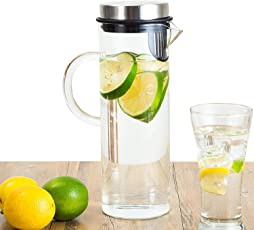 Perlli Fruit Infusion Glass Pitcher - Quality Borosilicate Glass - Stainless Steel Lid - Includes Fruit Infuser removable insert - 1300ml/44oz Water Pitcher