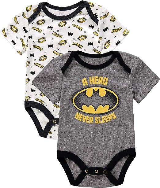 Baby Boys Batman One Piece Bodysuit Short Sleeve 2 Pack Infant Bodysuits