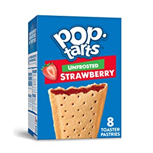 Pop-Tarts, Breakfast Toaster Pastries, Unfrosted Strawberry, Proudly Baked in the USA, 13.5oz Box (1 Pack 8 Count)