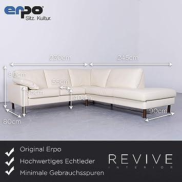 Erpo Designer Leder Sofa Creme Echtleder Ecksofa Couch 6494 Sanaa Amazon Fr Cuisine Maison