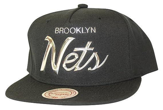 cf63ee40 Mitchell & Ness Men's NBA Metallic Silver TPU Raised Script Logo Snapback  Cap, Brooklyn Nets