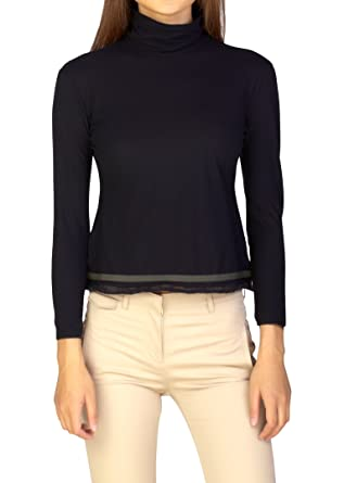 11f50a3cd52 Miu Miu Women s Cotton Turtleneck Long Sleeve Shirt Black  Miu Miu ...
