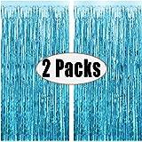Fecedy 2pcs 3ft x 8.3ft Light Blue Metallic Tinsel Foil Fringe Curtains for Party decorations
