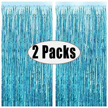 Amazon.com: FECEDY 2pcs 3ft x 8.3ft azul claro metálico ...