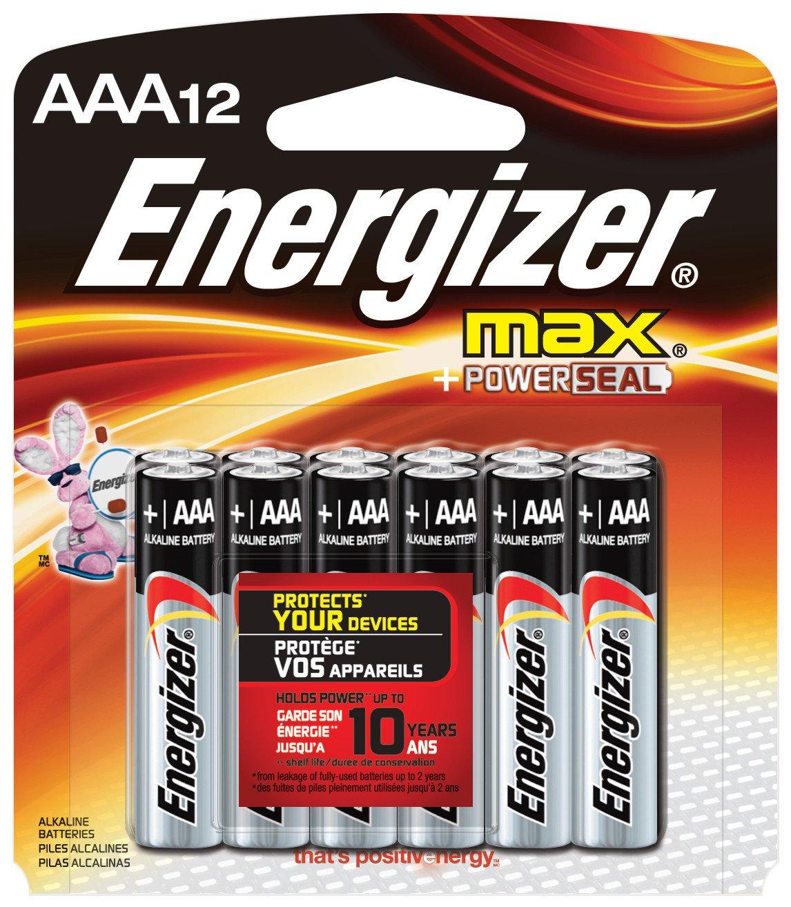 Energizer Max Alkaline AAA Batteries, 12Count