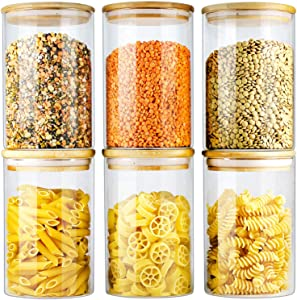 Glass Jars with Bamboo Lids EcoEvo, Glass Food Jars and Canisters Sets, 6 Pack of 26oz