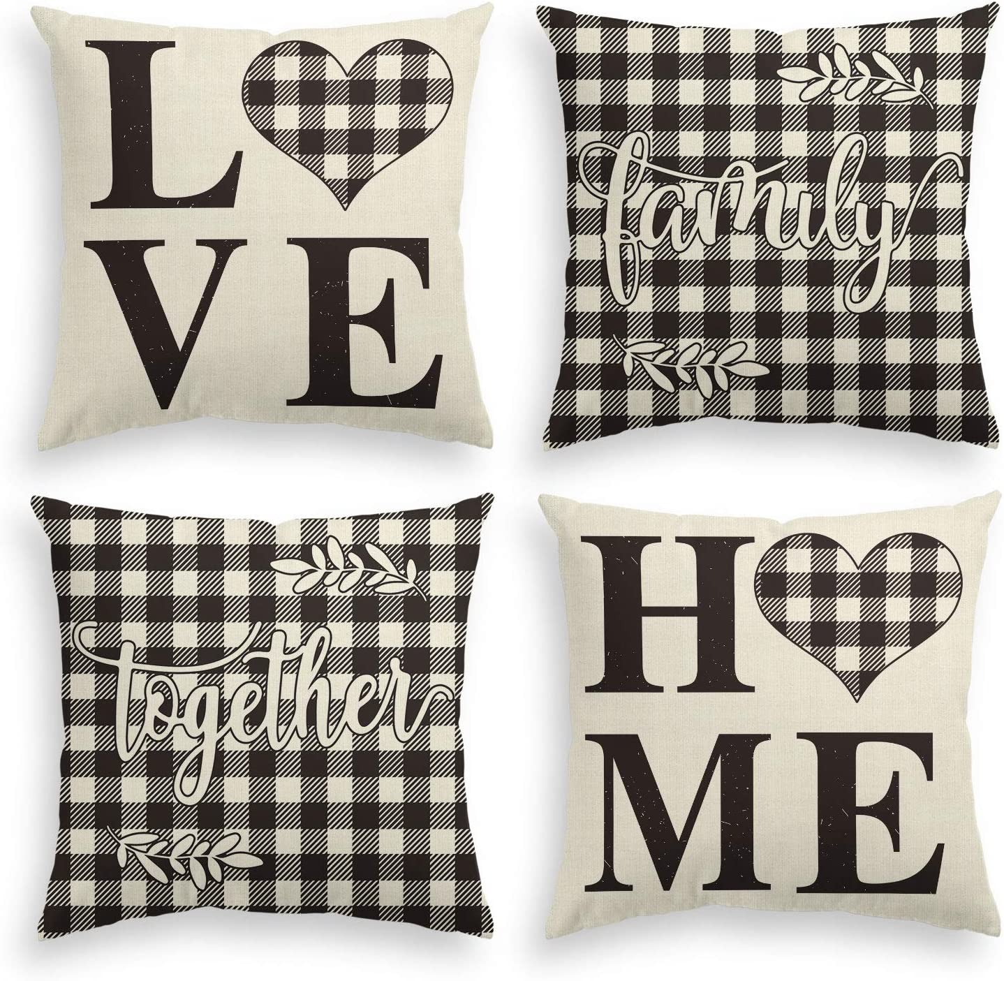 AVOIN Family Saying Buffalo Plaid Throw Pillow Cover, 18 x 18 Inch Holiday Love Home Easter Day Fall Cushion Case for Sofa Couch Set of 4