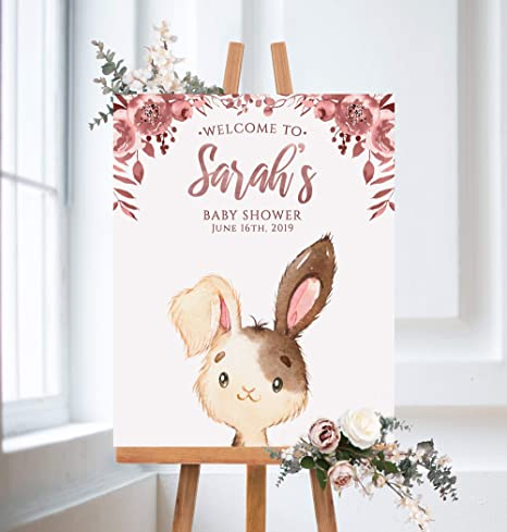 Dozili Bunny Baby Shower Welcome Sign Cute Bunny Girl Baby Shower Baby Shower Baby Shower Sign Amazon Ca Home Kitchen