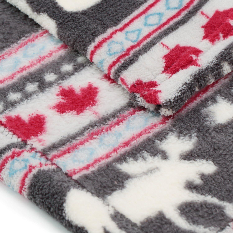 COSMOZ Sofadecke Tagesdecke Kuscheldecke vom Tiermotiv Wintermotiv Weinhnachtsmotiv aus Microfaser 150x200 cm