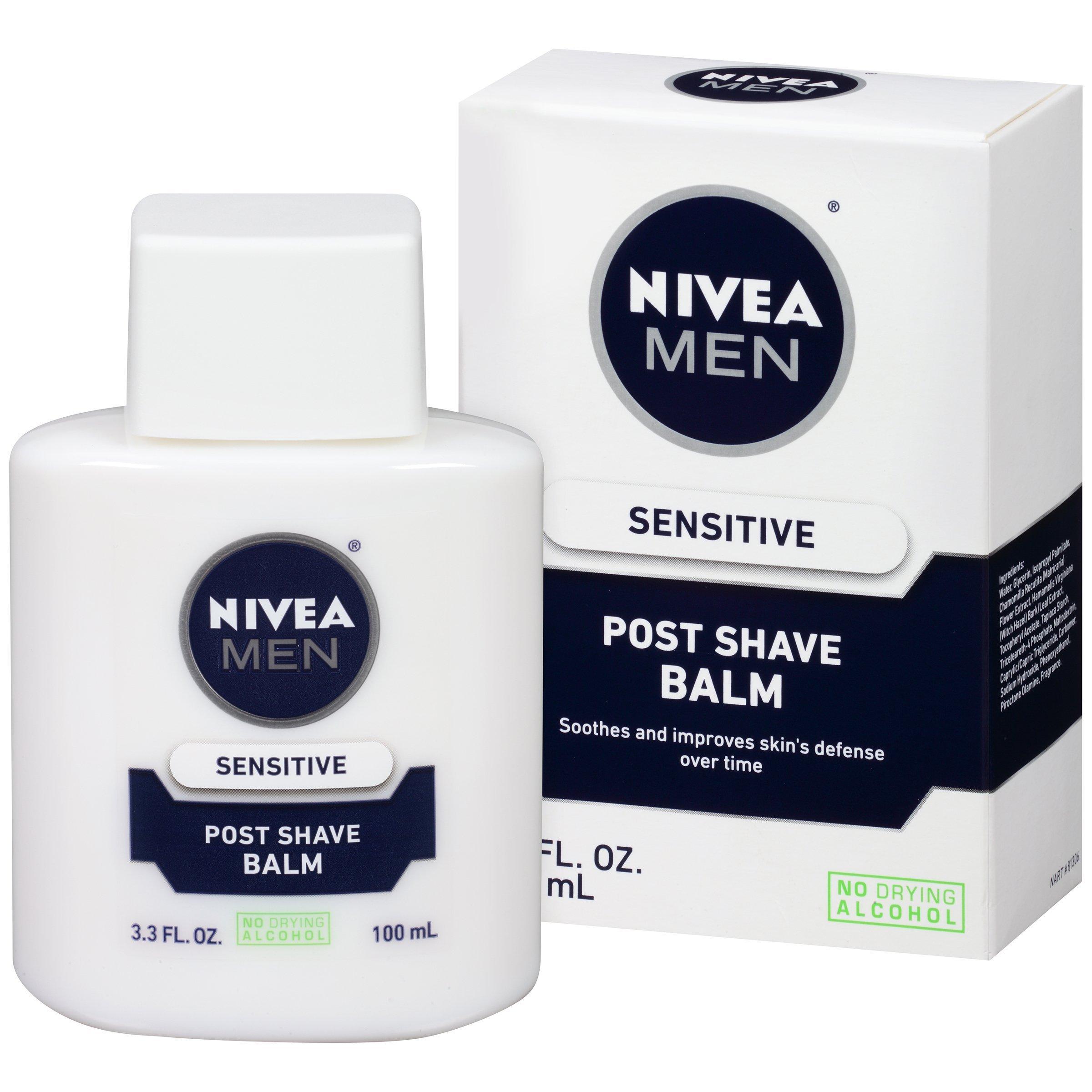 NIVEA Men Sensitive Post Shave Balm - Soothes and Moistuizes Skin After Shaving - 3.3 fl. oz. Bottle (Pack of 3)