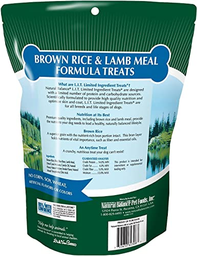 Natural Balance L.I.T. Limited Ingredient Treats Brown Rice Lamb Meal 8 ounce pack of 2