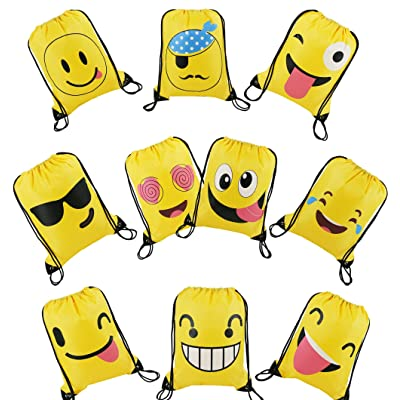 BeeGreen Emoji Party Supplies Favor Bags Drawstring Backpacks for Kids Teens Boys and Girls Birthday Party Goody Gift Bags 10 Pack: Toys & Games [5Bkhe0301544]