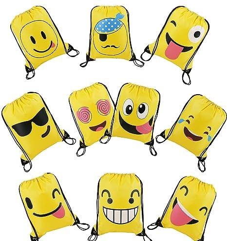 BeeGreen Emoji Partido mercancías de bolsillo bolsa de regalo regalos de dinero para los niños Turnbeutel 10 (Emoji bolsas)