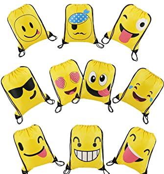 Party Bags Cute Emoji Cartoon Drawstring Backpacks 10 Pack Birthday Goodie