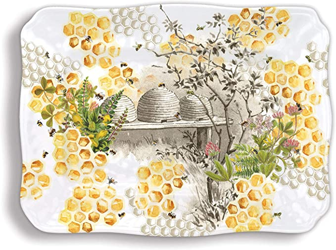Michel Design Works Merry Bright Christmas Poinsettia Melamine Serving Platter T