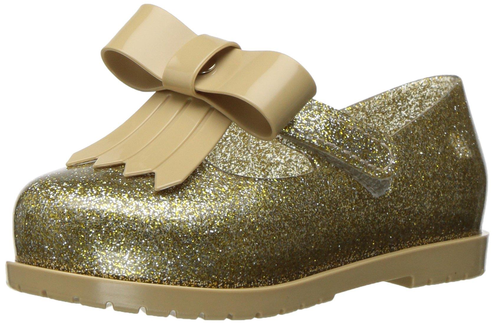 Mini Melissa Kids' Mini Classic Baby Ii Mary Jane Flat,Gold Glass Glitter,9 Regular US Toddler