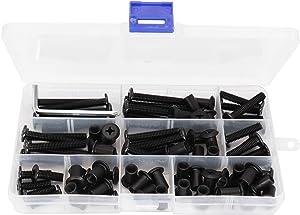 binifiMux 35-Set M6 x 15mm/ 20mm/ 25mm/ 30mm/ 35mm/ 40mm/ 50mm Black Rivet Phillips Countersunk Head Screws Cap Nuts Assortment Kit for Furniture Cupboard Wardrobe Chairs Bed