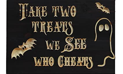 take two treats halloween candy bowl sign espresso