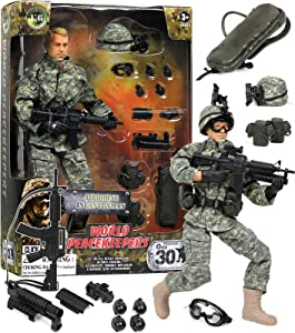 """Click N' Play CNP30442Military Airborne Infantry Troop 12"""""""" Action Figure Play Set with Accessories,Brown/A"""