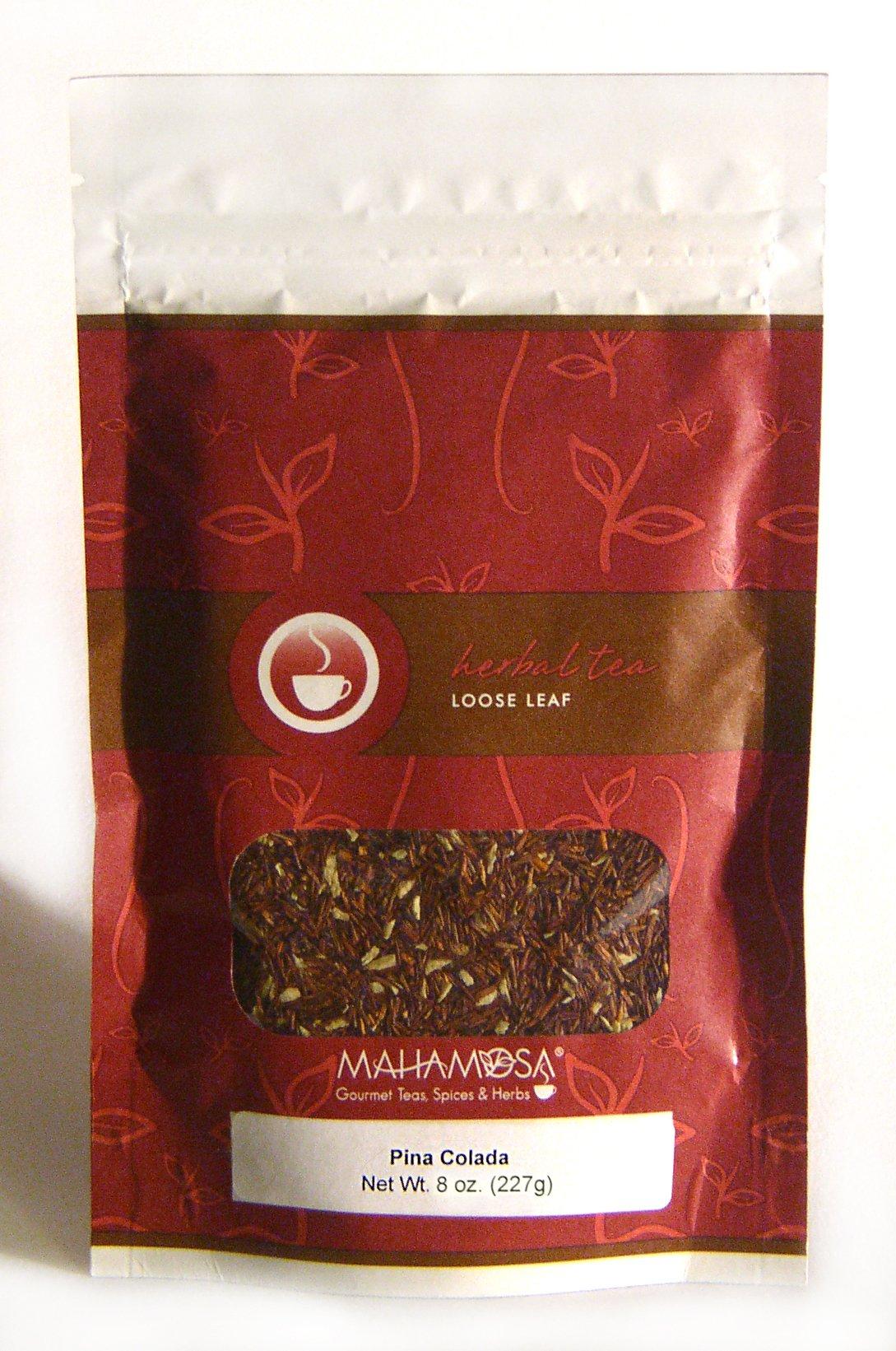 Mahamosa Loose Leaf (Looseleaf) Rooibos Herbal Tea Blend - Pina Colada 8 oz, (pineapple, coconut)