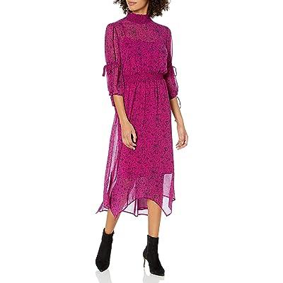 kensie Women's Floral Vines Printed Midi Length Smocked Waist Dress at Women's Clothing store