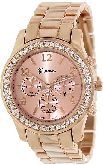 Geneva Platinum 9073.RoseGold.RoseGold Mujeres Relojes