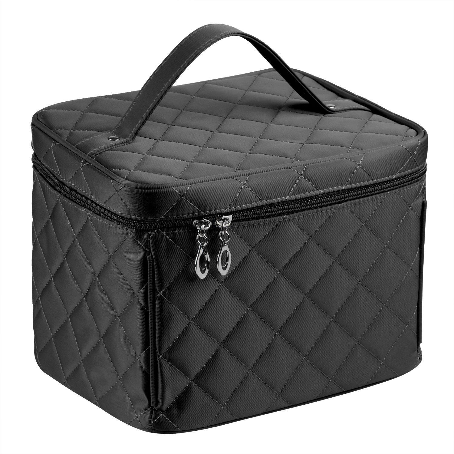 EN'DA Cosmetic bag with quality zipper Big size Nylon Make up Bag single layer travel Makeup bags (Black)