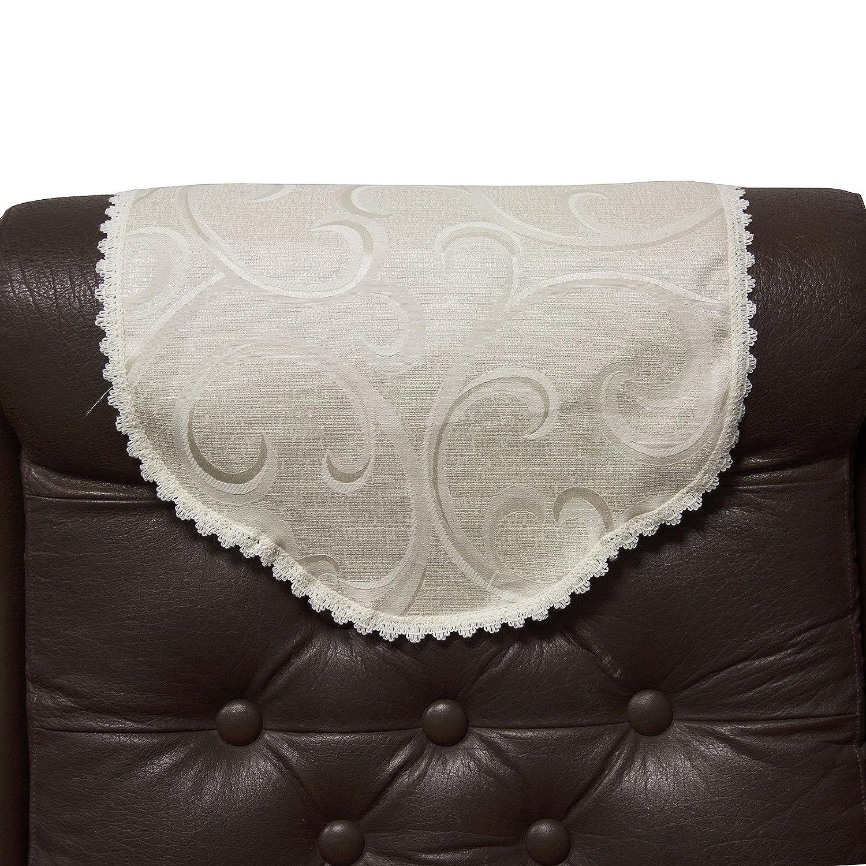 Just Contempo Rose Lace Chair Back Cover, Chair Back Saffron & Saffron 5055929886124
