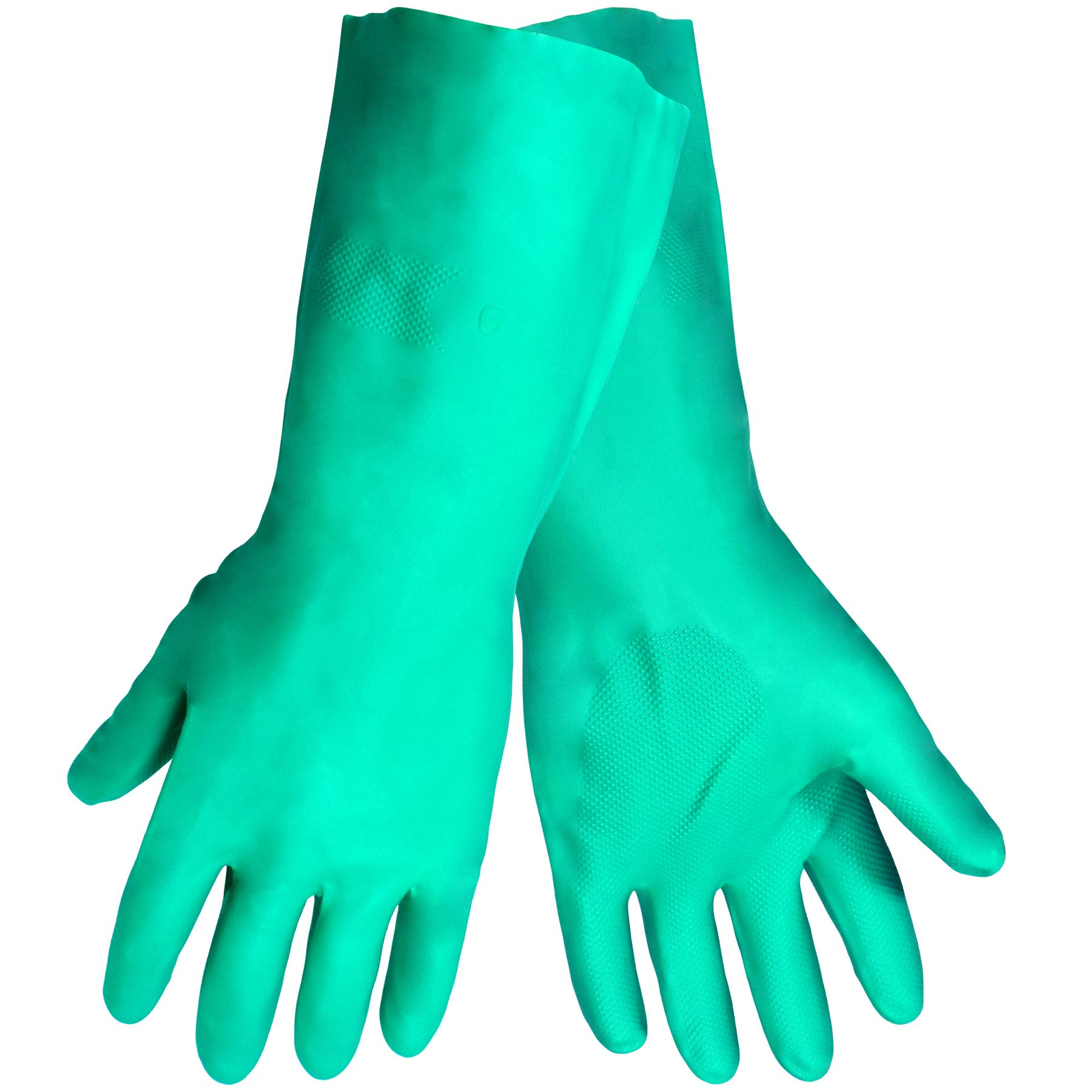 Global Glove 515 Unlined Nitrile Diamond Pattern Glove, Chemical Resistant, 12 mil Thick, 13'' Length, Medium, Green (Case of 144)
