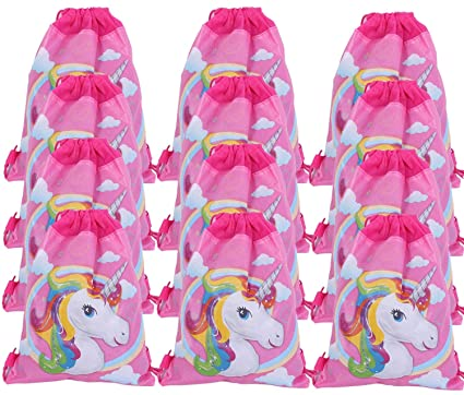 """12 Pack Unicorn Gift Bags 13/"""" Drawstring Backpack Birthday Treatbags Party Favor"""