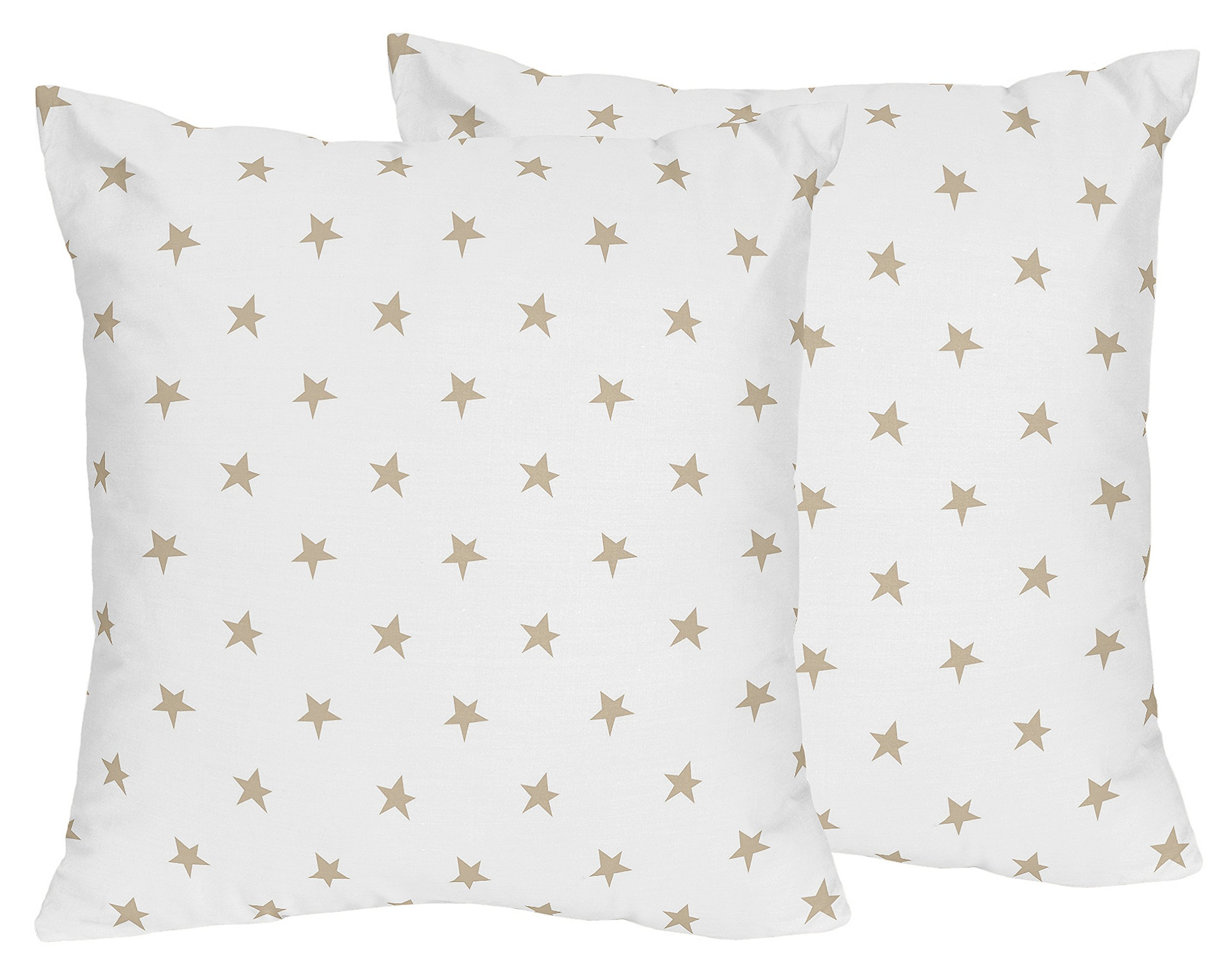 Sweet JoJo Designs 2-Piece Gold and White Star Decorative Accent Throw Pillows for Celestial Collection by