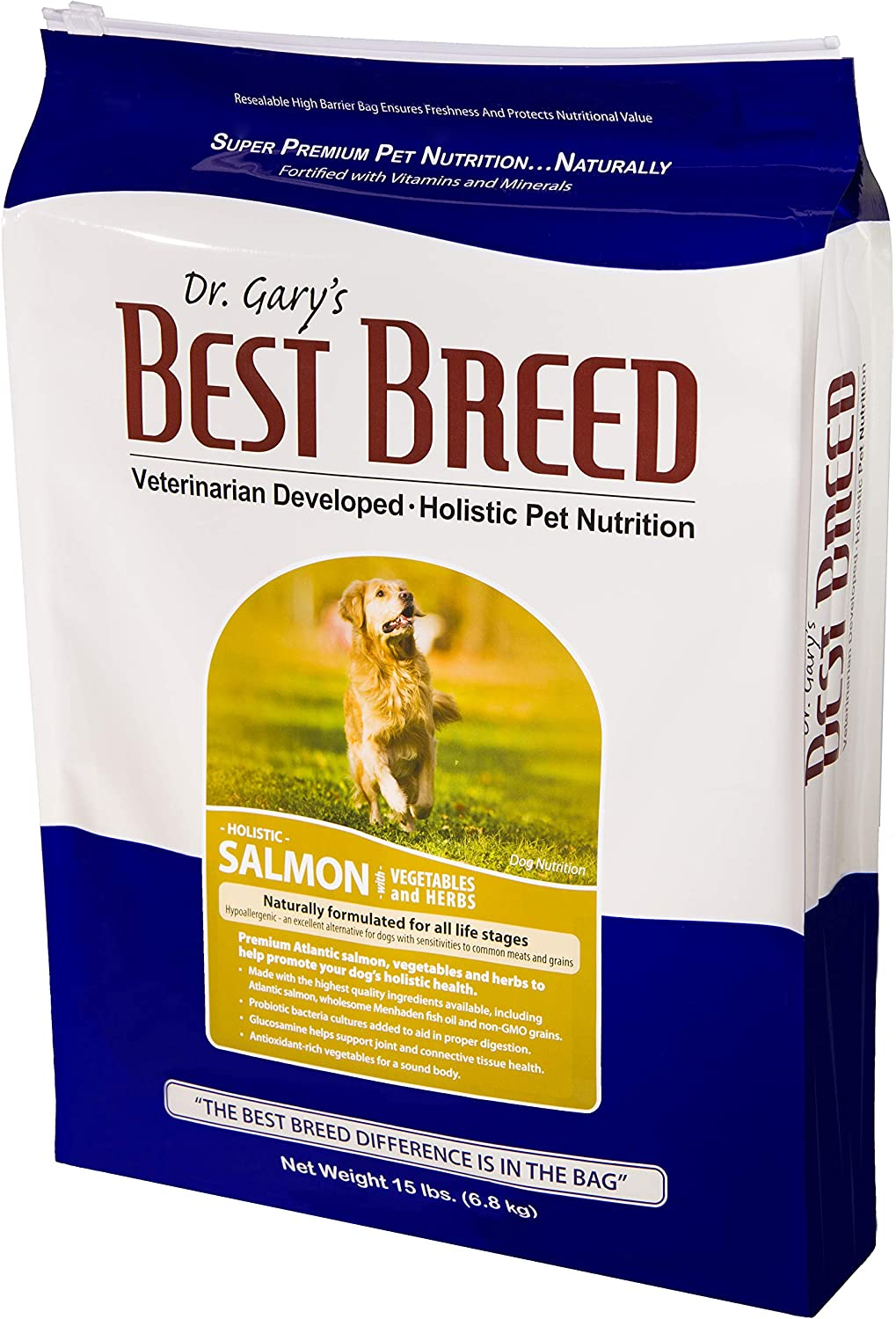 Best Breed Salmon with Fruits & Vegetables Made in USA [Natural Dry Dog Food for All Breeds and Sizes] - 15lbs.