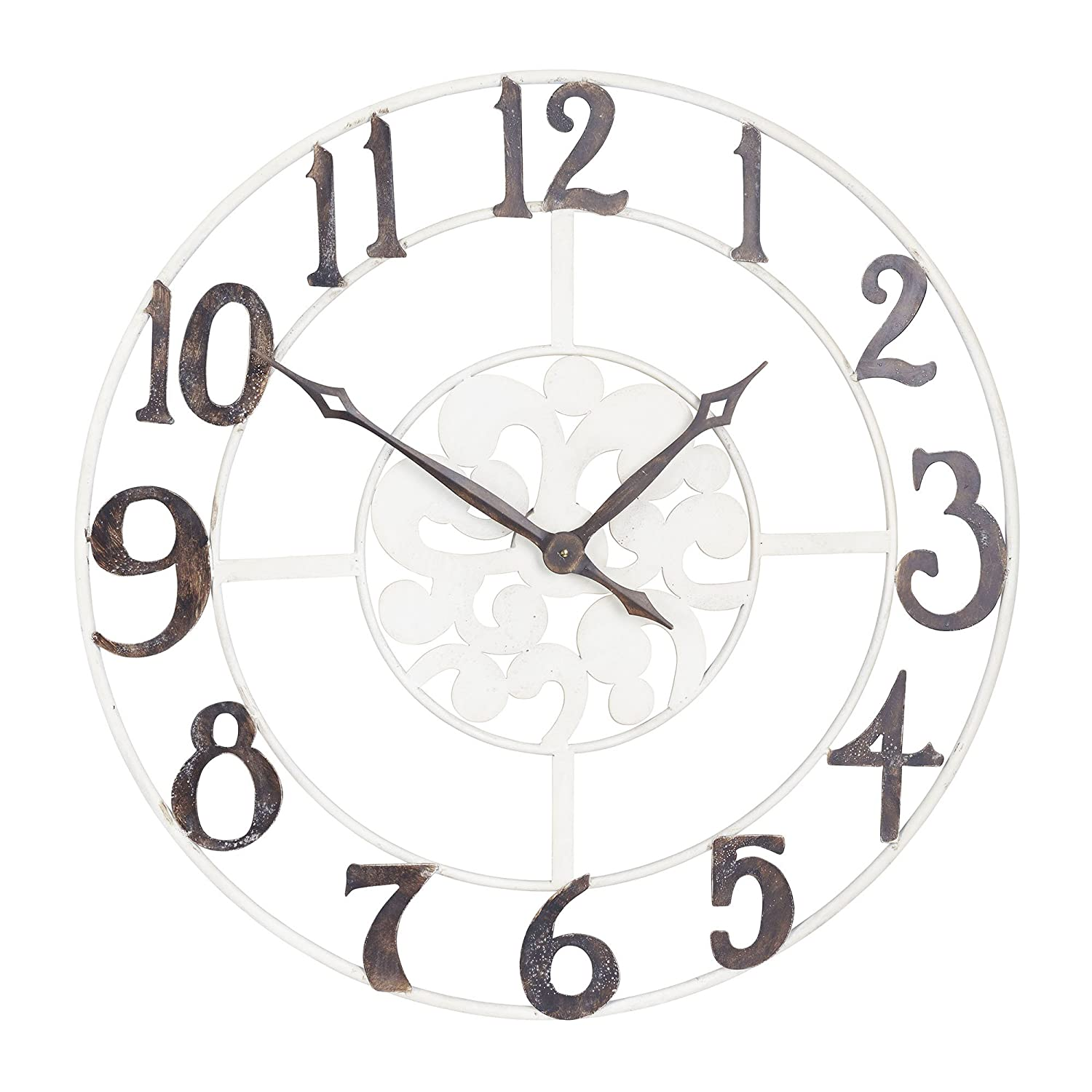 Amazon household essentials large oversized metal vintage amazon household essentials large oversized metal vintage clock wall decor white frame with black numbers home kitchen amipublicfo Images