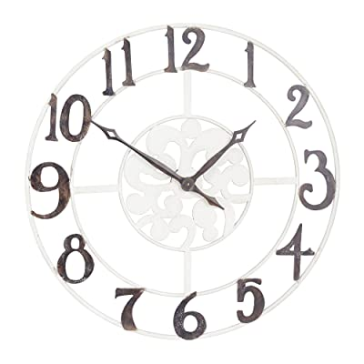 Household Essentials Large Oversized Metal Vintage Clock Wall Decor