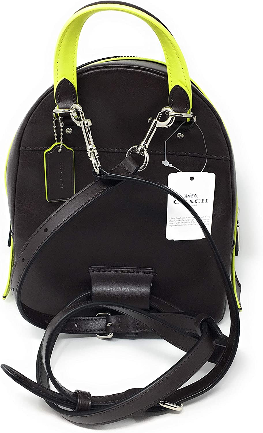 COACH F38998 ANDI BACKPACK SIGNATURE CANVAS BROWN NEON YELLOW