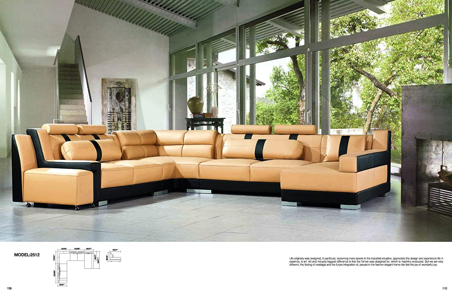 Amazon.com: My Aashis Luxury Sectional Sofa Living Room Furniture ...