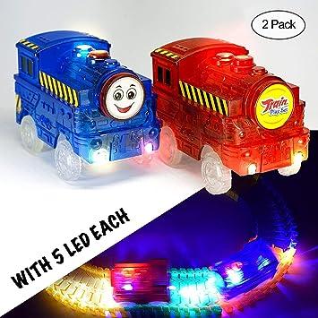 MIGE Tren Pista Coche Luz de Destello Tren Eléctrico Juguete Modelo Carro de Ferrocarril Coche de Juguete para Niños Niños y Niñas (Paquete de 2): ...