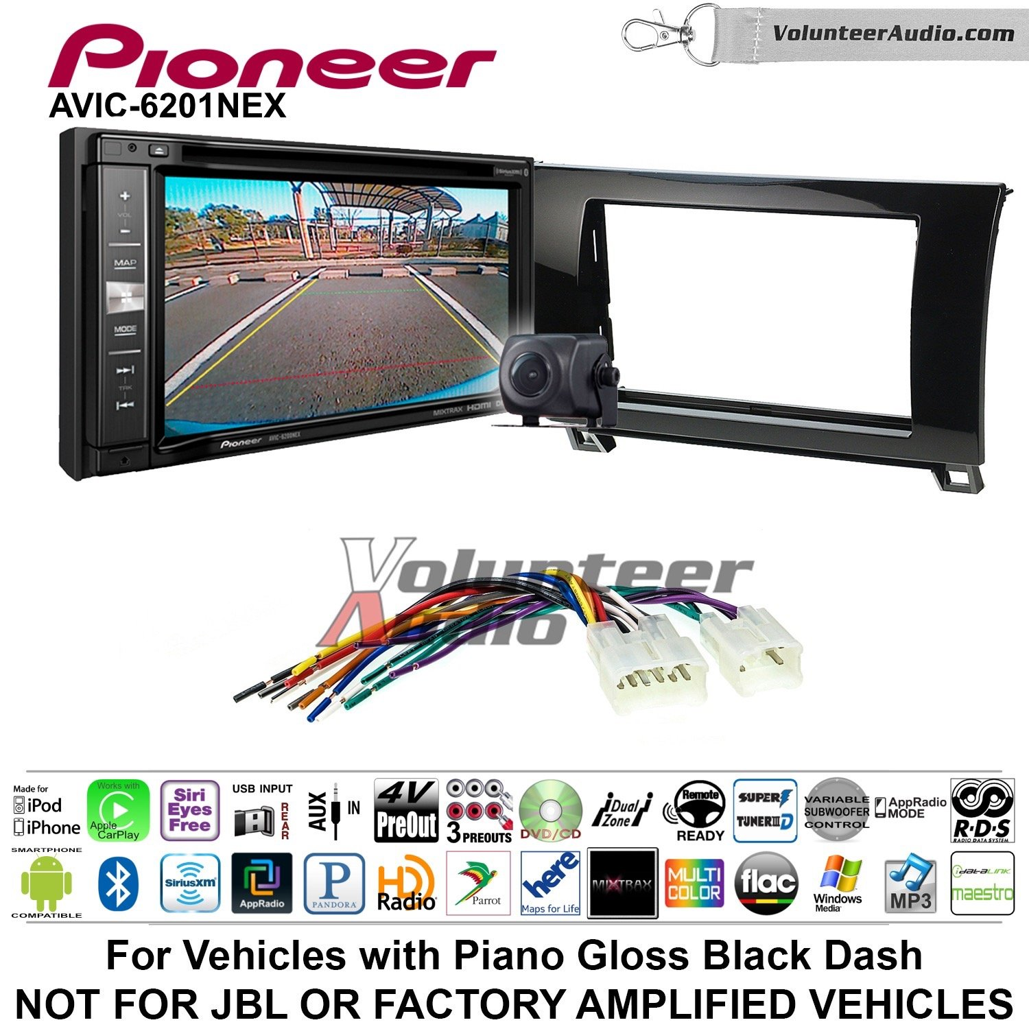 Pioneeer AVIC-6201NEX Double Din Radio Install Kit with GPS Navigation Apple CarPlay Android Auto Fits 2007-2013 Non Amplified Toyota Tundra, 2008-2013 Sequoia (Metallic Gray)