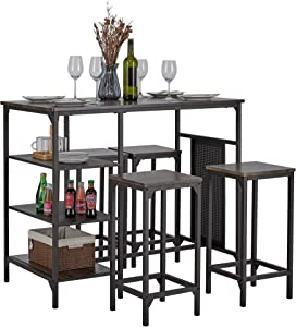 Kealive 5 Piece Bar Table Set Counter Height with 4 Pub Stool, Modern Compact Dining Breakfast Table Set of 4 with 3 Storage Shelf, Perfect for Small Kitchen Dining Room, Brown