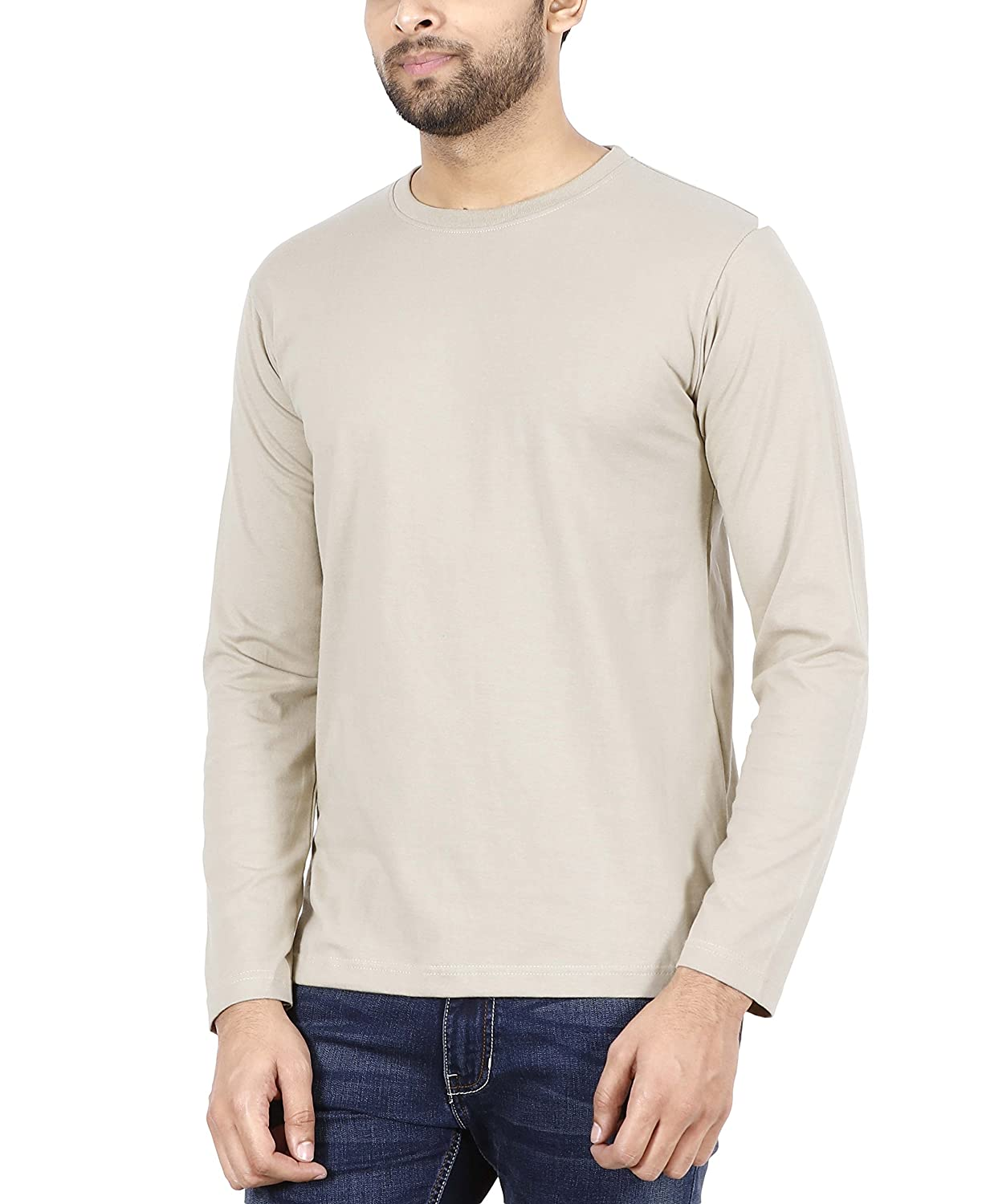 9383ac7dc FLEXIMAA Men's Cotton Plain Round Neck Full Sleeve T-Shirt Biscuit Color.:  Amazon.in: Clothing & Accessories