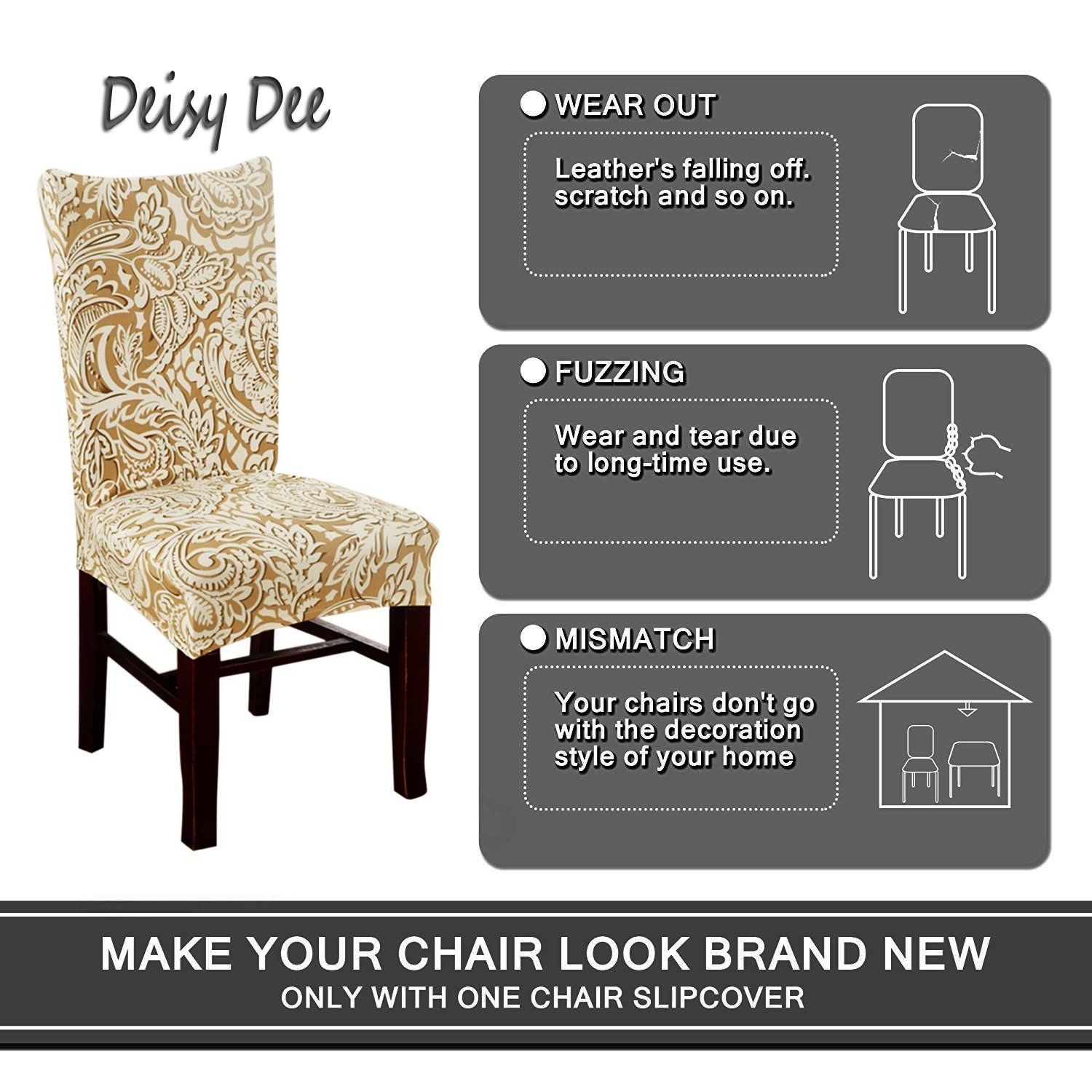 Deisy Dee Stretch Chair Cover Removable Washable for Hotel Dining Room Ceremony Chair Slipcovers Pack of 6 (D) by Deisy Dee (Image #3)