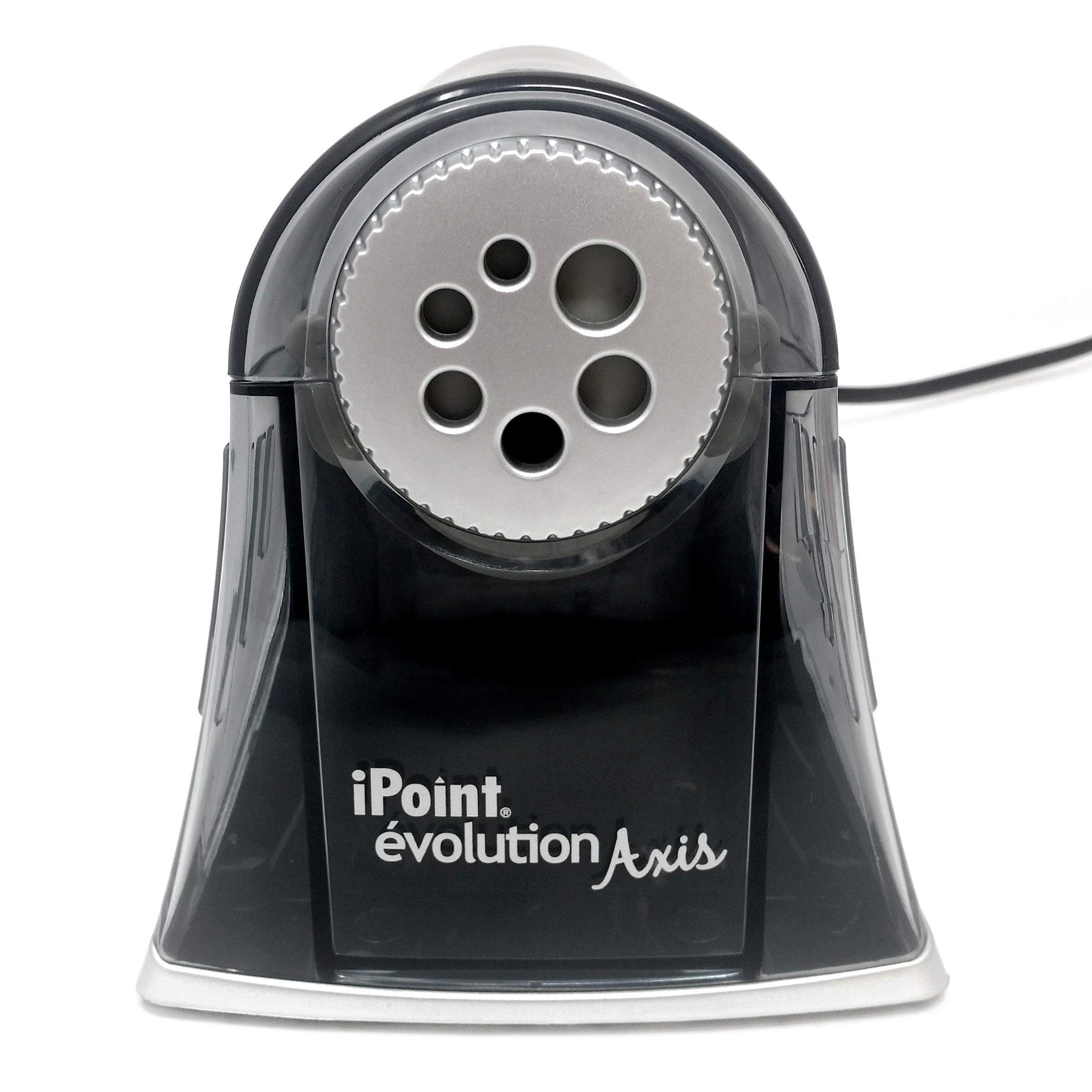 Westcott - iPoint évolution Axis - Auto-Stop Electric Desktop Pencil Sharpener with UK Plug - Carbon Steel Blades