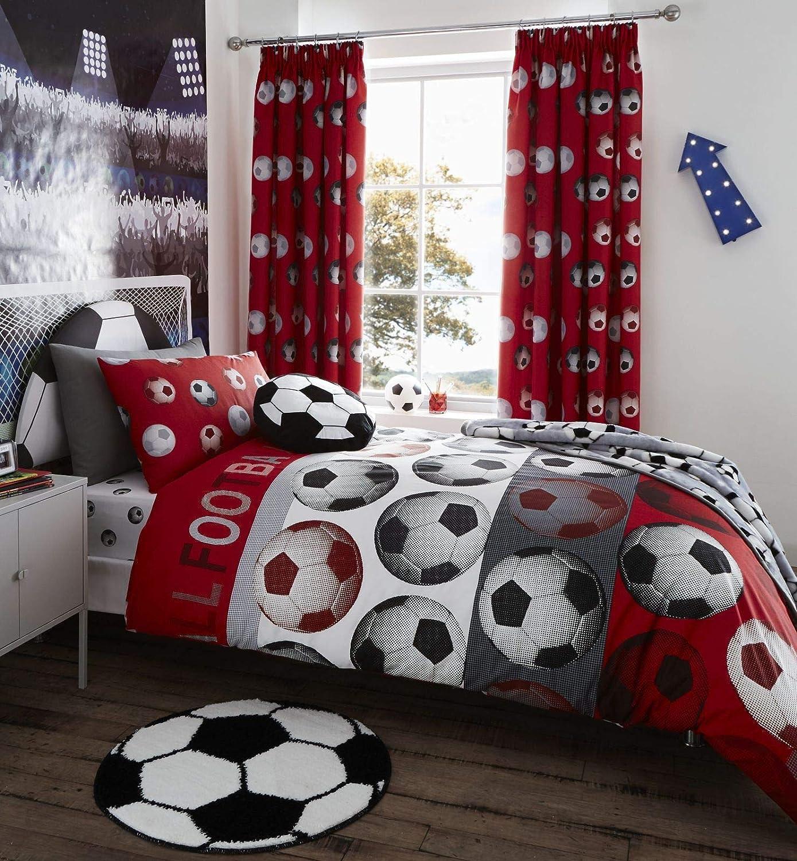 Catherine Lansfield Football Easy Care Single Duvet Set Red BDB2 6104 WSHQ