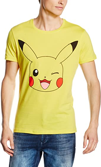 Bio - Camiseta Amarilla Pokemon Pikachu L: Amazon.es: Ropa y accesorios