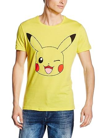 c86a81031 Amazon.com: Official Mens Pokemon Winking Pikachu Design Yellow T ...