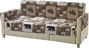 AZORE LINEN Western Wildlife Cabin Lodge Quilted Couch Sofa Loveseat Armchair Chair and Recliner Slipcover with Patchwork of Grizzly Bears and Plaid Patterns in Taupe Brown and Beige (W1 Brown, Sofa)