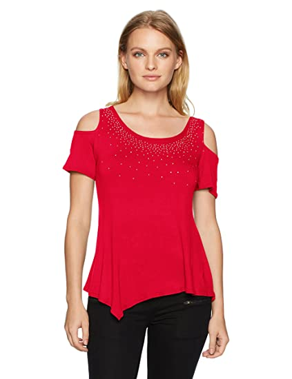 4e324fb79f6fd Star Vixen Women s Petite Str Rayon Span Sslv Cold Shoulder Top W Gld Sil  Stud Trim  Amazon.in  Clothing   Accessories